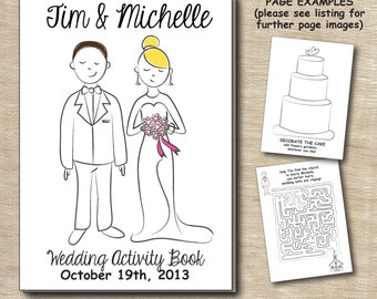 Personalized Children's Kid's Wedding Activity Book Illustration Custom Printable