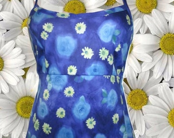 1990s vintage grunge blurry ombre blue floral maxi slip dress size extra small xs 4 6
