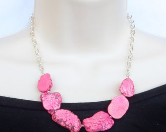 Chunky Pink Turquoise Statement Necklace - Pink Turquoise Slab Necklace - Pink Nugget Necklace - Pink Necklace