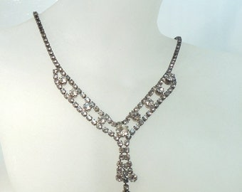 "Vintage Rhinestone Necklace Delicate Dangle 17""  50's (item 182)"
