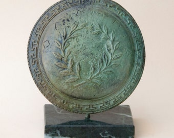 Bronze Greek Shield, Greek Key and Olive Wreath Symbol of Goddess of Wisdom Athena, Ancient Warrior Shield, Metal Sculpture, Collectible