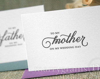 Wedding Cards to Your Mother and Father -Parents of the Bride or Groom Cards Thank You Gift - To My Mother On my Wedding Day Note Card CS05