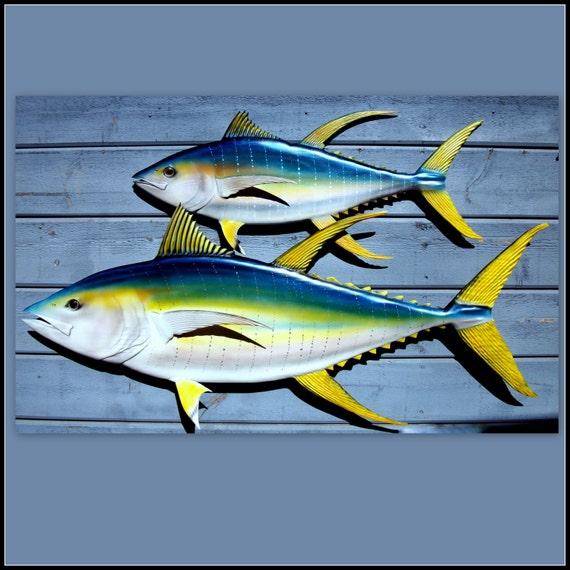 YELLOWFIN TUNA wood carvings, fishing decor, coastal living decor, wood fish decor, beach decor, nautical decor, fish wall hangings,