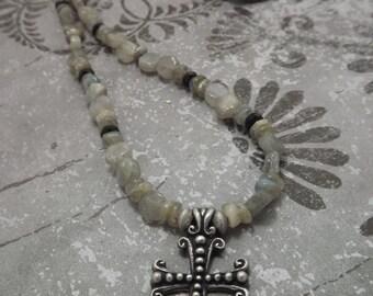 Gothic Cross Labradorite Necklace