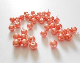 Coral/Peach Glass Pearl Dangle Beads