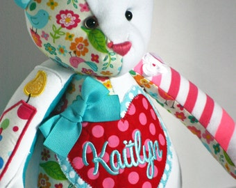 Handmade OOAK turquoise and pink memory teddy bear.  A special custom order made from somethings special.