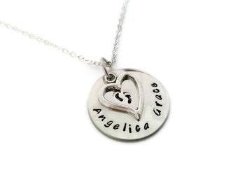 Baby Memorial with personalized name, necklace for mothers or grandmothers who have lost a child, miscarriage