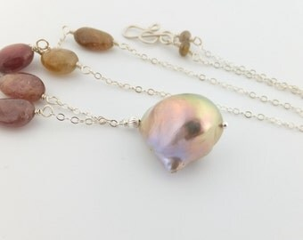 Fireball pearl necklace, sapphires, flameball pearl, jewelry, sterling silver  Simply Adorned