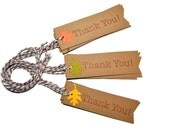 Fall leaves Inspired Flag Thank You Tags. Kraft Rustic Gift Tags Set of 25. Favor Tags Wedding Shower Birthday