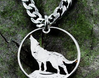 Wolf Jewelry, Howling Wolf Necklace, Hand Cut Coin, Quarter