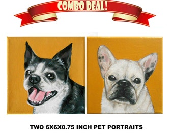 Custom Dog Portrait Set of 2 / Custom Pet Portrait - 1 to 2 Pets - Close-Up Solid background (6x6x0.75inch)