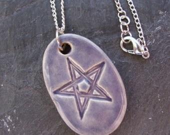 Ceramic Pottery Pendant Necklace, Pentagram Pendant, Pentacle Pendant, Star, Purple Jewellery, Pagan Jewellery, Wiccan Jewellery