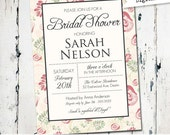 Chic floral Bridal Shower Invitation, pink and green bridal invite, antique bridal invitatio, digital file, printed (JPD209)