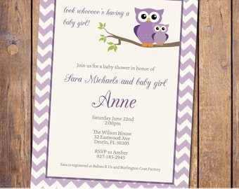 owl baby shower invitations, girls baby shower invitation, modern baby shower invite, chevron, Digital, Printable file (item18)