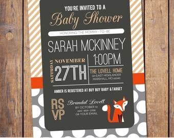 fox baby shower invitations, gender neutral baby shower invitation, modern baby shower invite, stripes, Digital, Printable file (item308)