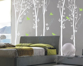 birch tree wall decal birds nature forest Vinyl wall decals children baby boy girl nursery wall decal sticker decor-Tree with Flying Birds