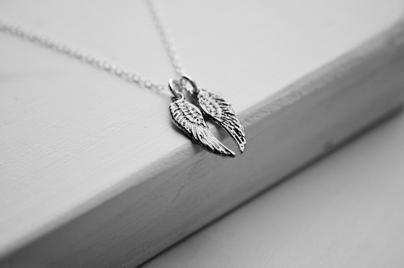 Angel Wing Necklace | Antique Sterling Silver | Double Wings | Charm Necklace | Cherub Wings | Minimalist Jewelry | Double Angel Wings