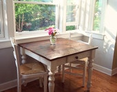 """The """"Petite"""" White Harvest Farm Table With Drawer- Handmade with Reclaimed Wood by Arcadian Cottage"""
