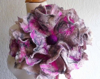 felted flower corsage pin brooch, handmade, felted wool flower, lagenlook, handmade, shawl pin MADE TO ORDER