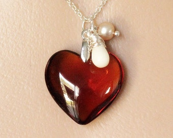 Amber Heart Necklace. Glass Heart Necklace with White Coral Teardrop and Fresh Water Pearl. Crystal Heart Necklace. Handmade Jewelry.