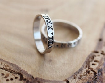 Men's Personalized Skinny Ring - Hand Stamped, Sterling Silver - Scott Ring
