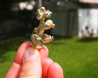 Vintage Pendant, Gold Poodle, Animal Cane Finial, Vintage Poodle Figurine, Pearl Pendant, Poodle Charm, Dog Pendant, Poodle, Umbrella Finial