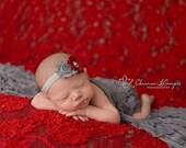 Baby Headbands - Shabby headband - gray & red headbands - Infant headbands- Baby girl headbands - Baby hair accessories - Baby Hair Bows