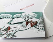 5 Christmas Cards from an original reduction linocut print - Snow, Bournemouth Gardens