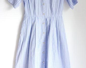 Vintage 1980s Blue Dress /Stripe /Preppy
