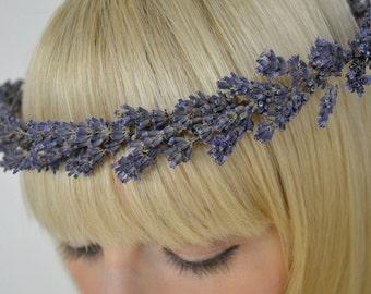 Lavender Halo Real Dried Flower Crown / Bridal Hair Wreath Engagement / Wedding / Photo Prop Head PIece