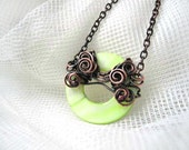 Green neon necklace, pistachio lime necklace, pearl nacre, copper necklace, wire wrapping for her
