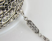 2 Ft Matte Antiqued Silver Tribal Ethnic Hexagon Link Chain Ch206