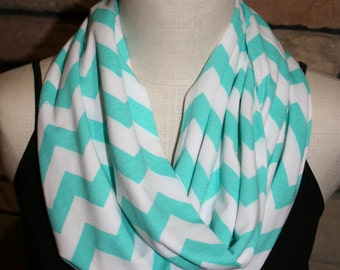 "Infinity Scarf- Aqua Blue Chevron Infinity Scarf - Circle Loop Scarf 9"" x 64"" L-Easter Scarf-Spring Scarf-Quantity Discounts Available"