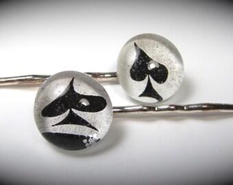 Handmade Glass Bubble Black Spade Glass Bobby Pins (Pair)