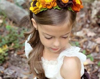 Fall Headband - Wool Felt Flower Headband - Autumn Headband - Thanksgiving Headband - Girls Headband - Adult Headband- Photo Prop
