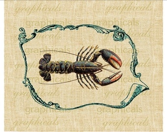 Lobster seafood Turquoise blue instant Digital download image for iron on fabric transfer burlap decoupage tote bags pillows  No.2155
