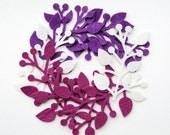 Die Cut Felt - Felt Branch - Purple Violet White Felt - Floral Felt