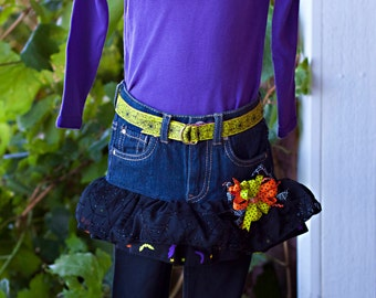 READY TO SHIP Size 3T Halloween Shirt with Belted Ruffle Skirt and Leggings