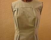 Pale blue cotton 1930s style sleeveless blouse with navy gingham contrast edging (Small)