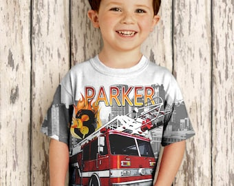 Personalized Fire Engine Shirt, Boys Fireman Birthday, Fire Fighter T-Shirt