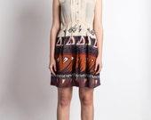 Vintage Dress Japanese S// 70s Dress// Wave of Angles Dress// Summer Nude Linen Japan