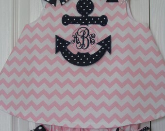Anchor Nautical Pink Chevron Monogram Initial Bloomer Set Birthday Outfit Summer Fun