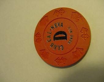 1970'S Obsolete Orange D Roulette Chip -real clay~ Nevada Gaming Collectible Die/Car Mold