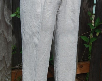 Star C.C.C. Natural Vintage Rayon/Linen Pants,  High waist, Pleats, Jr size Sm / 5