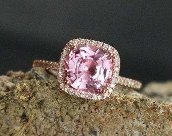 Pink Sapphire Engagement Ring Cushion & Diamonds Halo 3ct 8mm Cuscino Grand Custom White Yellow Rose Gold 10k 14k 18k Platinum Wedding