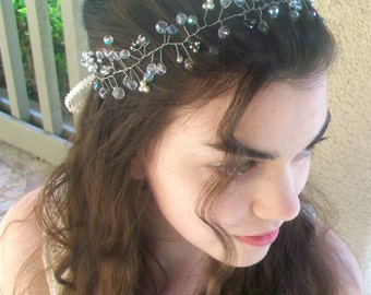 Wedding Headband, Crystal Hair Vine- Beaded Headband, Bridal Hair Wreath, Pearl Hair Vine, Wedding Crown, Rhinestone Headband, Bridal Halo