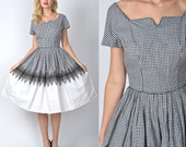 Vintage 50s Black + White Color Block Dress Gingham cutout cocktail Pleated Full 1288