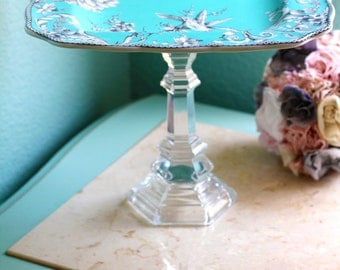 Turquoise Blue Cake Stand or Dessert Pedestal / Truffle Tray Petit Four Platter Cake Pop Stand / Inspired by Tiffany & Co