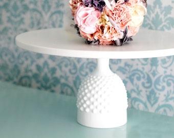 "Cake Stand with Fenton Milk Glass Base / 12"" Hobnail Cake Stand or Cupcake Stand / Hobnail Milk Glass Base w/ Ceramic -like Cake Plate"