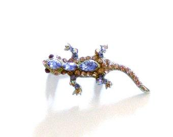 little gecko rhinestone brooch